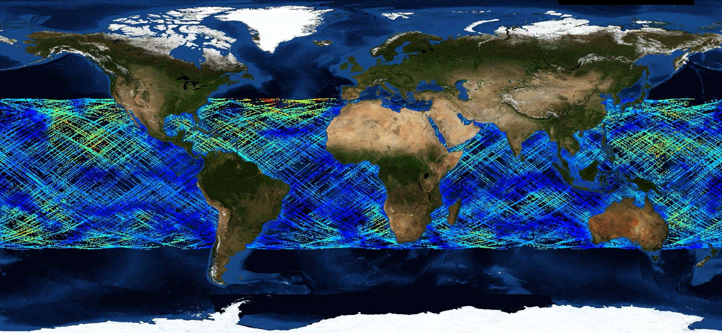 This graphic illustrates information gathered from Ocean Surface Wind Speed from CYGNSS SDR V3.0