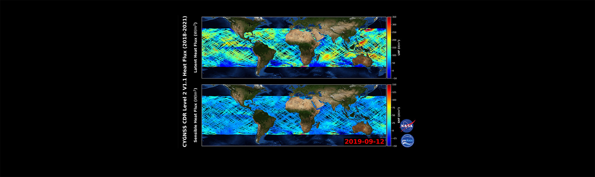 This graphic illustrates information gathered from the CYGNSS Level 2 Ocean Surface Heat Flux CDR Version 1.1 Dataset Release
