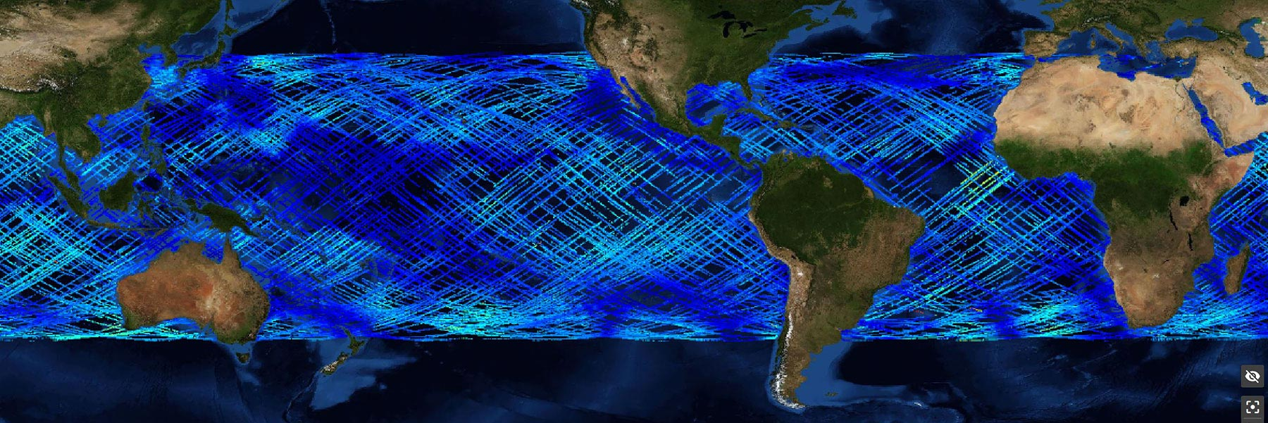 This graphic illustrates information gathered from CYGNSS Wind Speed SDR V3.0 through the PO.DAAC State of the Ocean (SOTO) visualization tool.