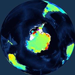 Globe icon / screenshot representing Glaciers/Ice Sheets Measurement