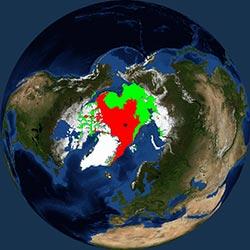 Globe icon / screenshot representing Sea Ice Measurement