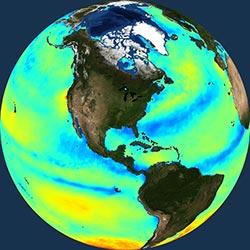Globe icon / screenshot representing Ocean Winds Measurement