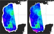 The wind vectors from the OSI SAF 12.5 km ASCAT data set (ops vs. coastal)